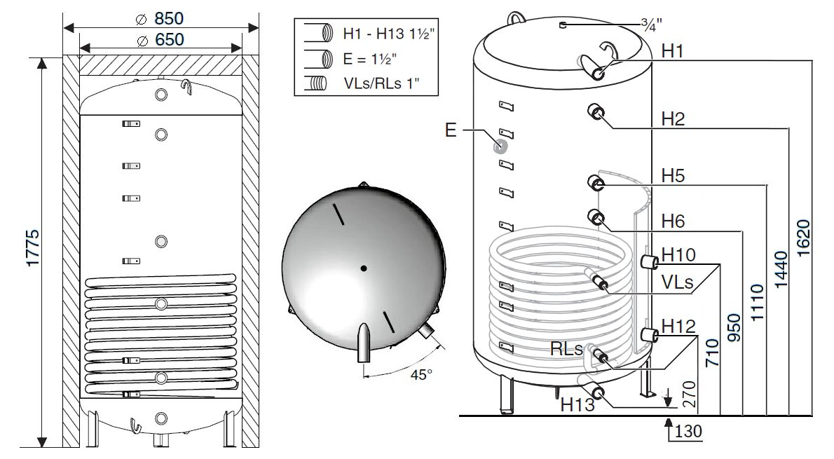 Габариты бака-аккумулятора Buderus Logalux PNR500.6E S-B