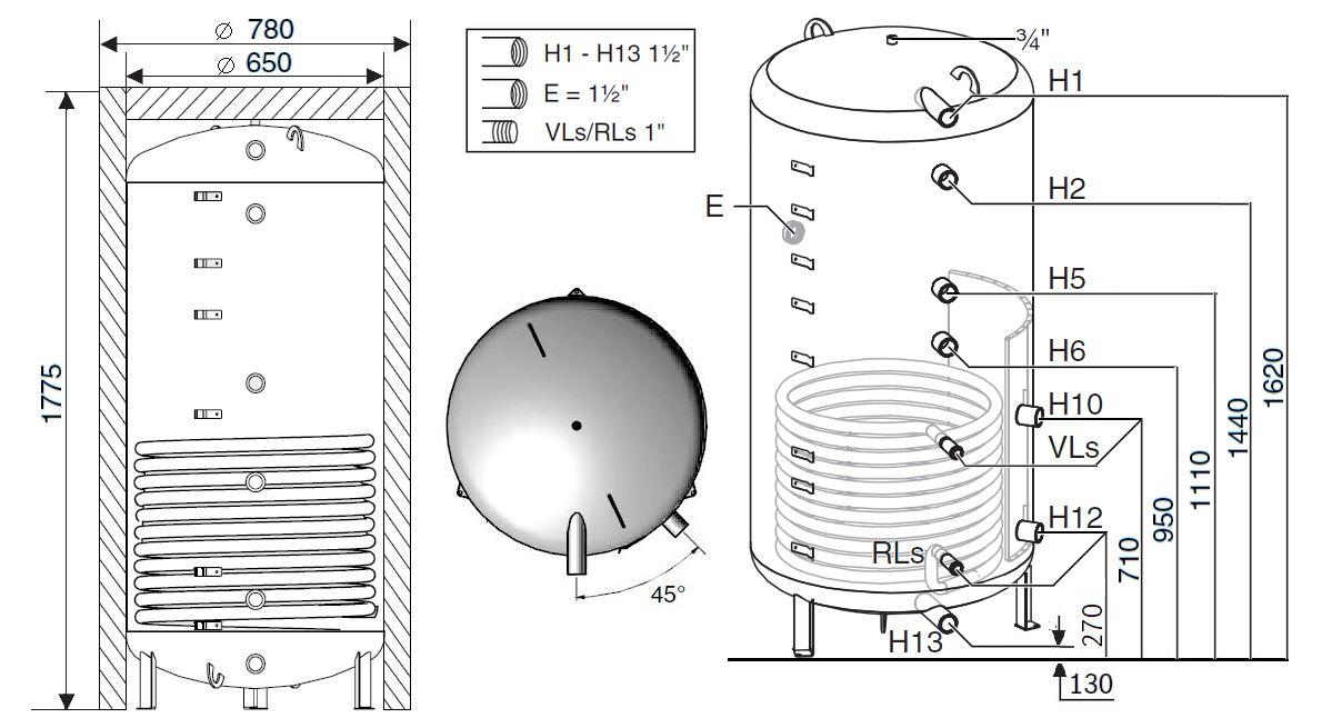 Габариты бака-аккумулятора Buderus Logalux PNR500.6EW-C