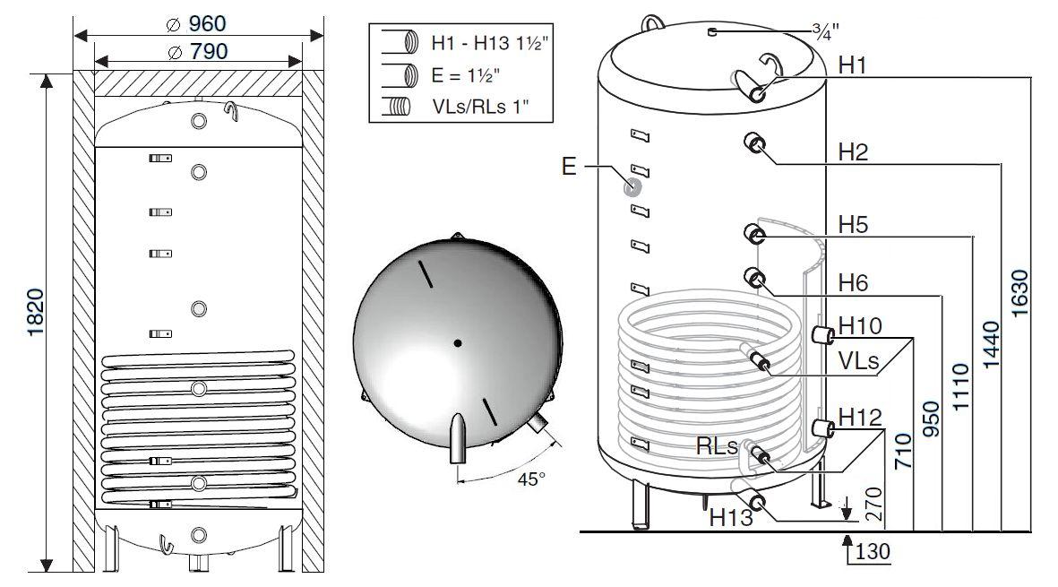 Габариты бака-аккумулятора Buderus Logalux PNR750.6E-C