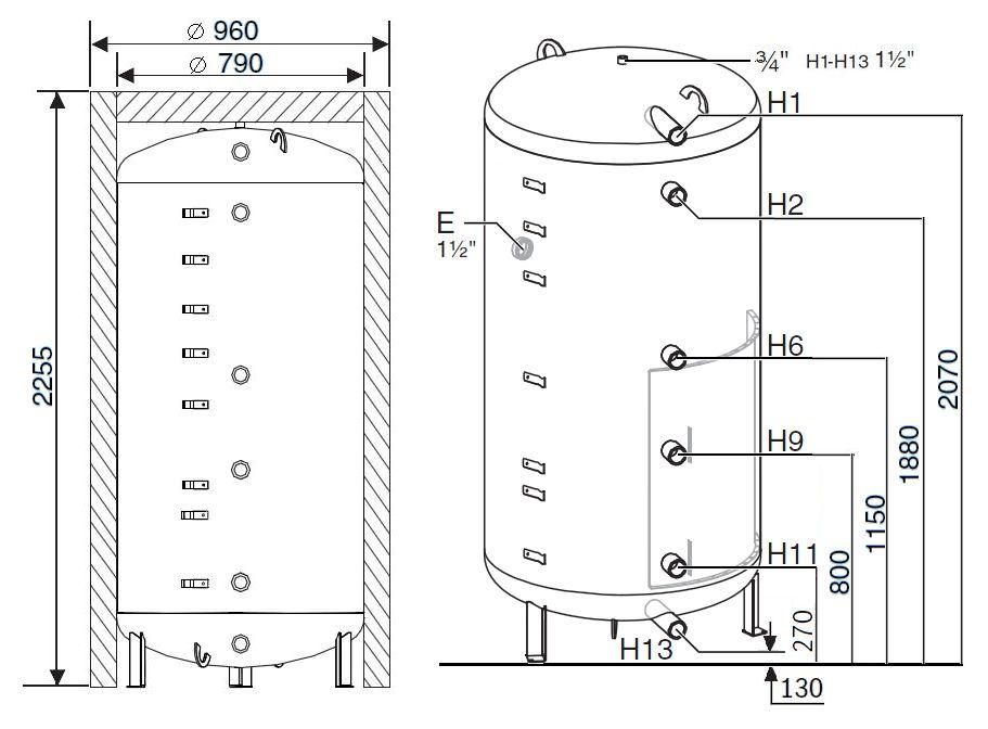 Габариты бака-аккумулятора Buderus Logalux PR1000.6EW-C