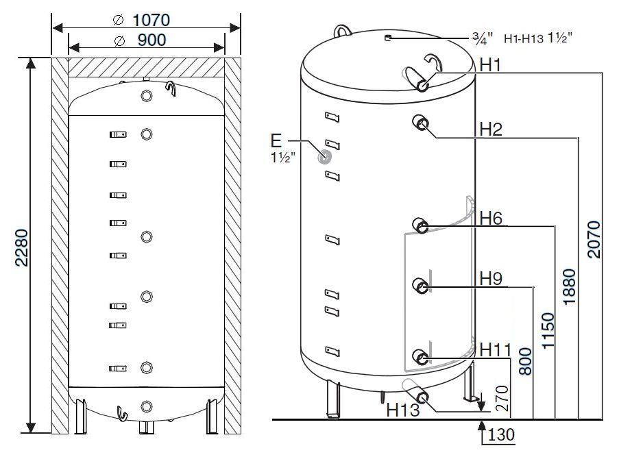 Габариты бака-аккумулятора Buderus Logalux PR1300.6E-C
