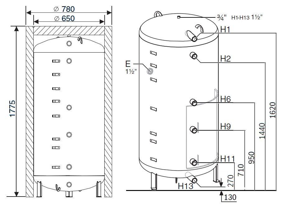 Габариты бака-аккумулятора Buderus Logalux PR500.6E-C