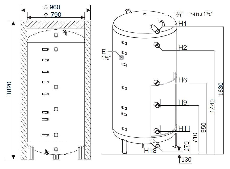 Габариты бака-аккумулятора Buderus Logalux PR750.6E-C