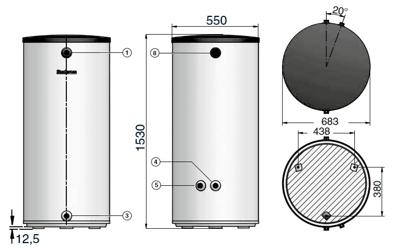 Габариты бака-аккумулятора Buderus Logalux P200/5W