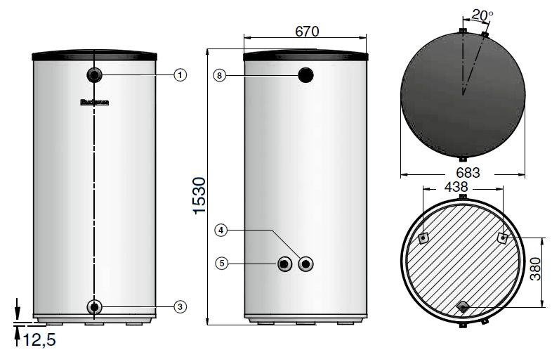 Габариты бака-аккумулятора Buderus Logalux P300.5 S-B