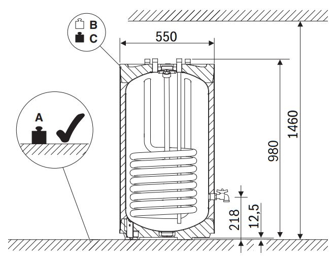 Габариты водонагревателя Buderus Logalux S120/5 W