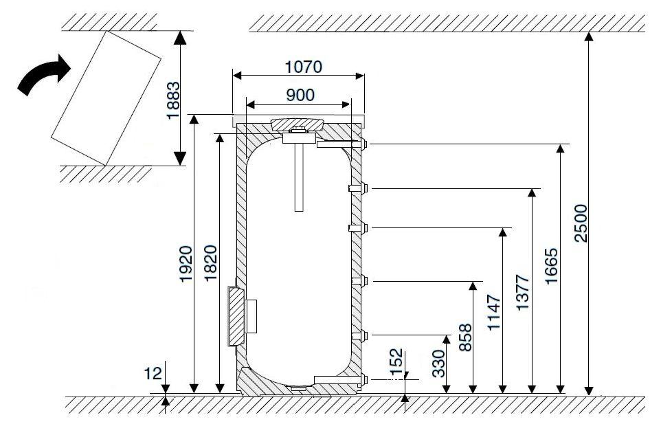 Габариты водонагревателя Buderus Logalux SF1000.5-C