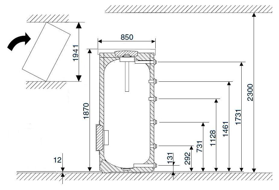 Габариты водонагревателя Buderus Logalux SF500.5-C