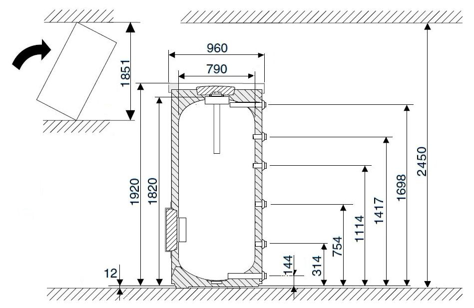 Габариты водонагревателя Buderus Logalux SF750.5-C