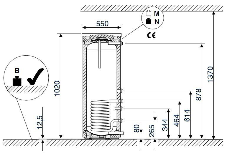 Габариты водонагревателя Buderus Logalux SU120/5 S-B