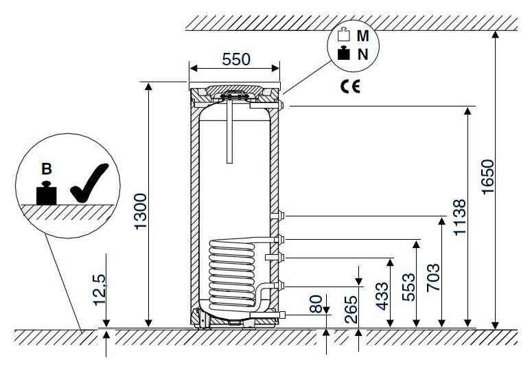 Габариты водонагревателя Buderus Logalux SU160/5 S-B