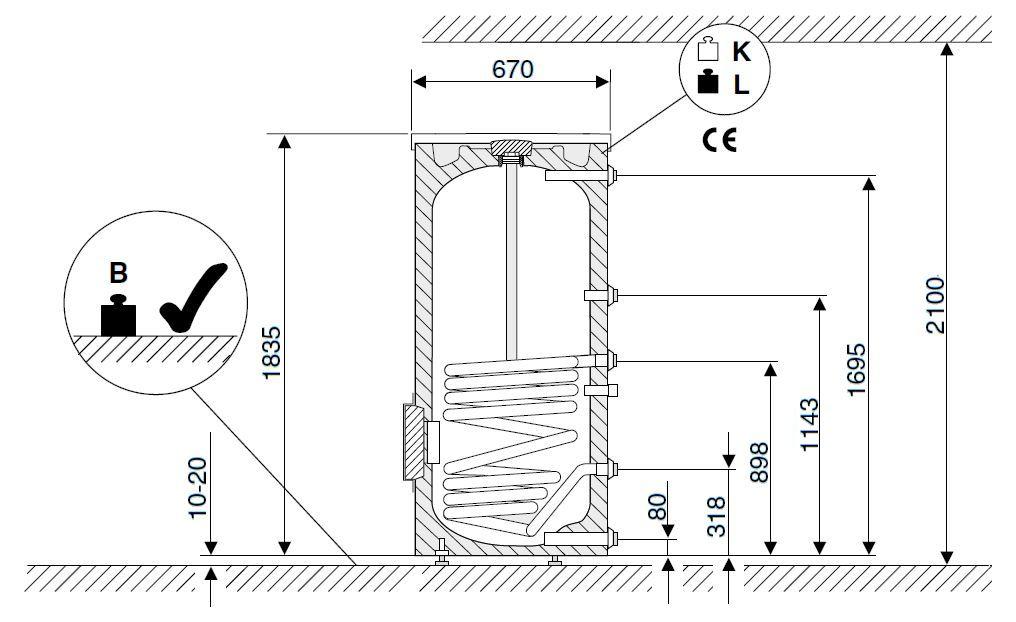 Габариты водонагревателя Buderus Logalux SU400/5 W