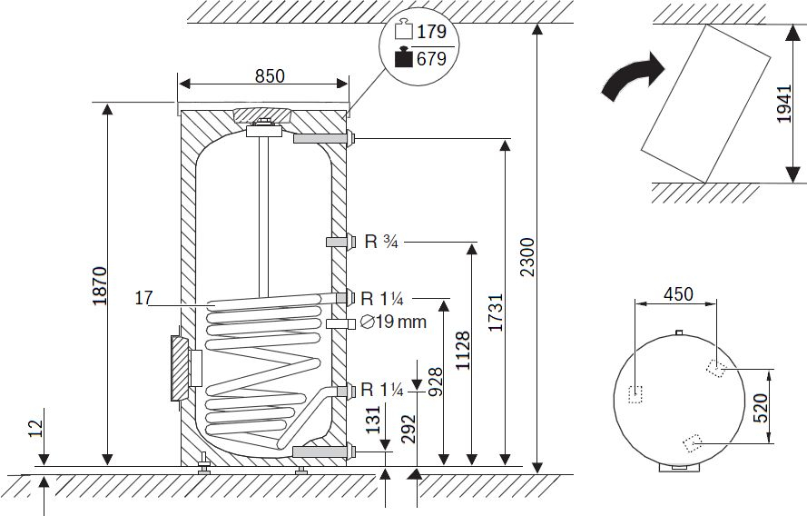 Габариты водонагревателя Buderus Logalux SU500.5 E S-B