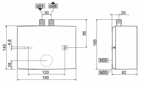 Габаритные размеры проточного водонагревателя Stiebel Eltron EIL 6 Plus