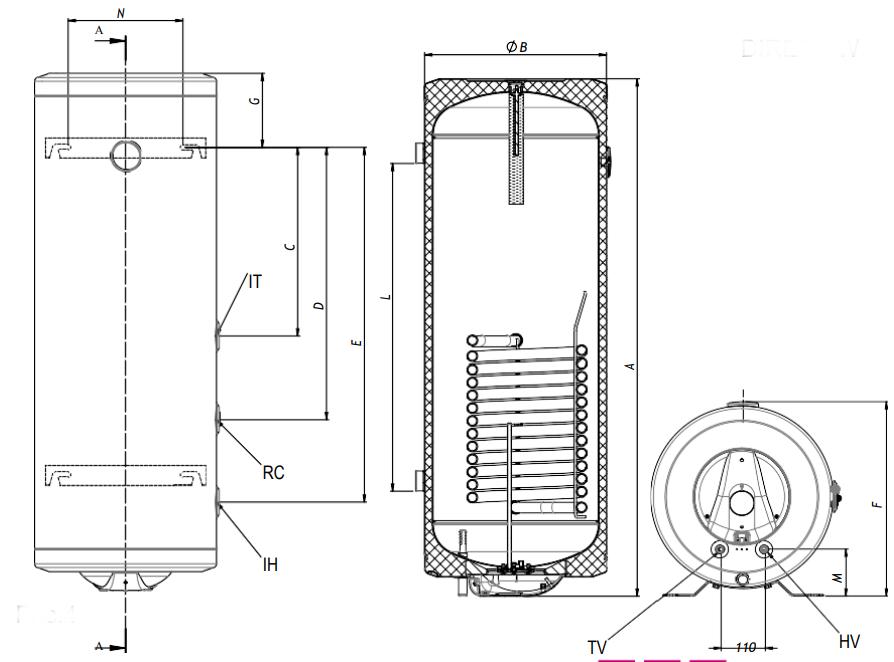 Габаритные размеры накопительного водонагревателя Metalac DIRECT WL 100