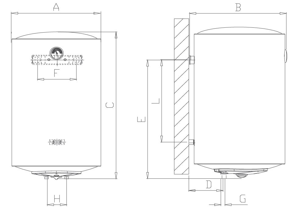 Габаритные размеры бойлера E-Glass 80V