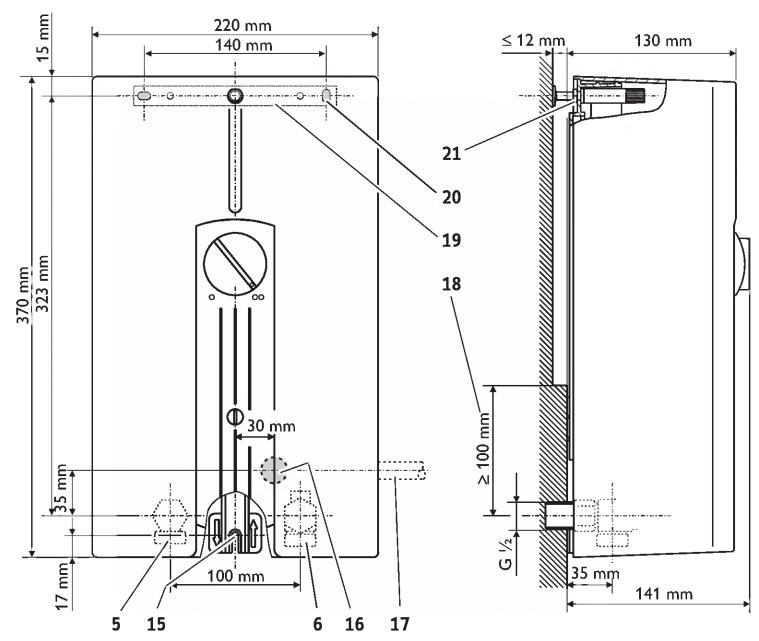 Габаритные размеры проточного водонагревателя DHF 24 C